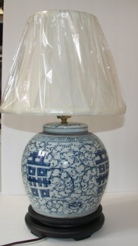 Double Happiness Blue And White Porcelain Ginger Jar Table Lamp