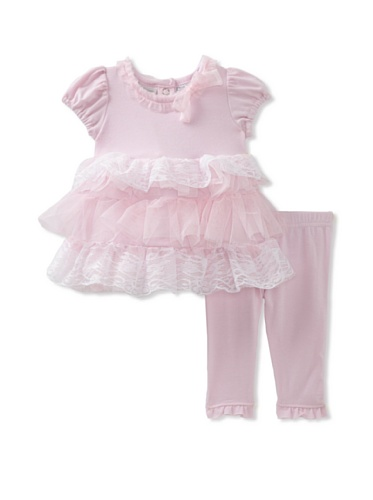 Baby Grand Signature Baby-Girls Newborn 2 Piece Ruffle Dress Set, Pink, 3-6 Months
