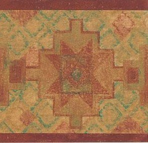 Wallpaper Border Southwest Indian Western Pattern Rust Red Tan Green