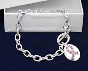 Breast Cancer Ribbon Locket Silver Bracelet Awareness SUpport Pink Ribbon in Gift Box
