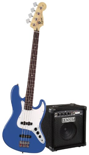 Squier Stop Dreaming-Start Playing Set: Affinity J Bass w/ Rumble 15 Amp, Metallic Blue (Fender Starter Pack compare prices)