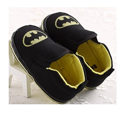 New Fashion Handsome Newborn Baby Kids Boy Prewalker Shoes Infant Toddler Cute Cartoon Bat Man Soft Bottom Anti-slip Shoes (3, Black) (Baby Shoes For Fat Feet compare prices)