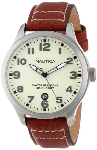 Nautica Men's N09560G BFD 101 Stainless Steel Watch with Leather Band