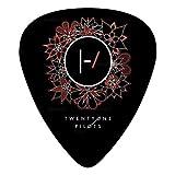 Twenty-One-Pilots Party Guitar Picks 12-Pack Celluloid Paddles Plectrums Fender Guitar Bass 3 D Print Customized For Boyfriend (Color: Black, Tamaño: ONE SIZE)