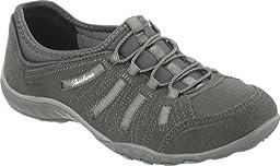 Skechers Sport Women\'s Breathe Easy Big Bucks Walking Shoe, Charcoal Suede/Mesh/Gray Trim, 8 M US