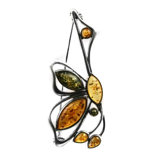 Multicolor Amber Sterling Silver Museum Collection Classic Pin 19th Century