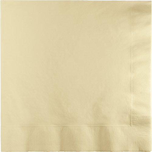 Creative Converting 250 Count Case Touch of Color 3-Ply Paper Dinner Napkins, 1/4 Fold, Ivory