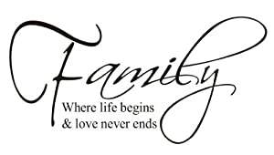 FAMILY,where life begins & love never ends - Classic HOME Decal Quote,prettify your life!
