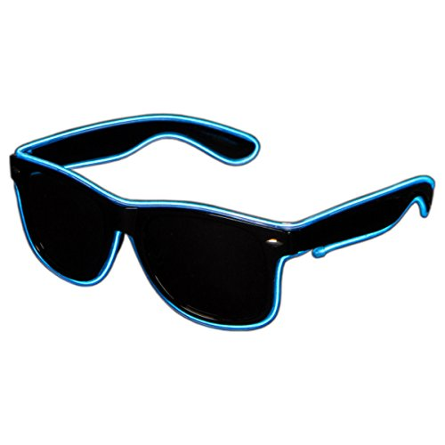 Raveanomics El Wire Aqua Blue LED Sunglasses – Semi Rectangular
