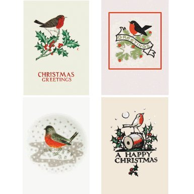 Retro Robin Pack of 20 Christmas Cards (Mini Box)||RF10F