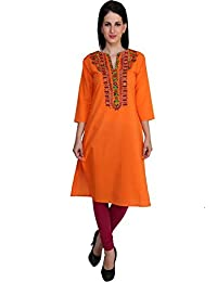 Anekaant Cotton And Cotton Lycra Blend Orange And Maroon Kurti & Legging Set