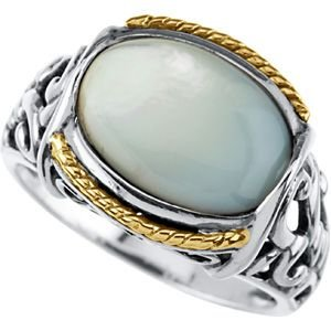 Jewelplus Genuine Mother Of Pearl Ring Sterling Silver & 14K Yellow 13.00X09.00 Mm