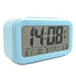 JCC Dual Alarm Optional Weekday Alarm Automatic Sensor Back Light Bedside Digital Alarm Clock with Date, Day Temperature Display and Snooze Function (Blue)