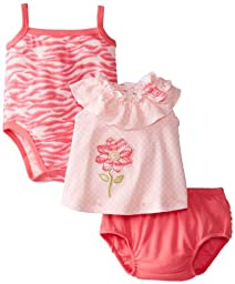 Peanut Buttons Baby-Girls Newborn Girl 3 Piece Flower Zebra Print Diaper Set with Creeper, Pink, 3-6 Months