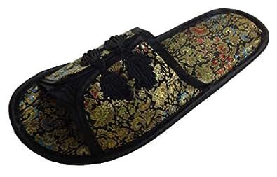 chinesisch pantoffeln hausschuhe damen schwarz neu schuhe handtaschen. Black Bedroom Furniture Sets. Home Design Ideas