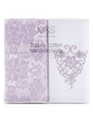 2 Pack M&S Collection Pure Cotton Lace Handkerchiefs