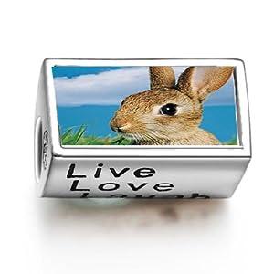 1001love Alert Bunny Rabbit Words Live Love Laugh Bead Charm