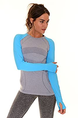 B.BANG Women's Long Sleeve Seamless Running/Yoga Shirt Tops