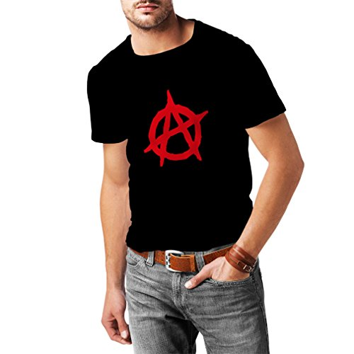 N4106 T-shirt da uomo Anarchy Punk, ANARCHO RETRO (Large Nero Rosso)
