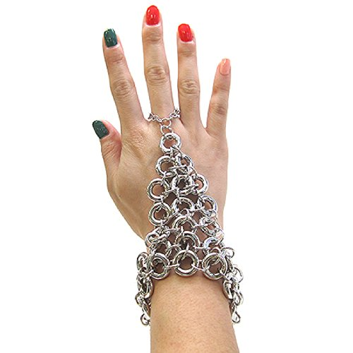 Ring Cluster Link Chain Bracelet-Ring Hand Jewelry in Silver Tone JB7005RD