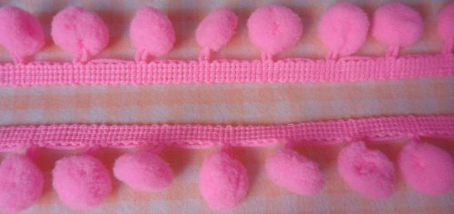 12mm Bright Pink Pom Pom Fringe Ruffle Sew on Colorful Craft Embroidered 18 Yards
