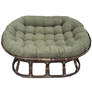 Rattan Double Papasan Chair with Micro Suede Cushion Fabric: Camel
