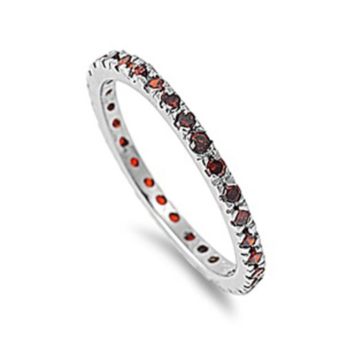 1.00 CT Sterling Silver Rhodium Plated Round Red Garnet CZ Cubic Zirconia Ladies Eternity Stackable Ring Wedding Anniversary Band (Available in size 6, 7, 8) size 5