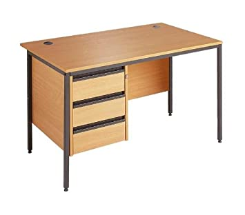 Straight H Frame Desk - 3 Drawer Fixed Pedestal By Ready Office - Height: 725 MM; Width: 1786 MM; Depth: 746 MM - Color: Oak