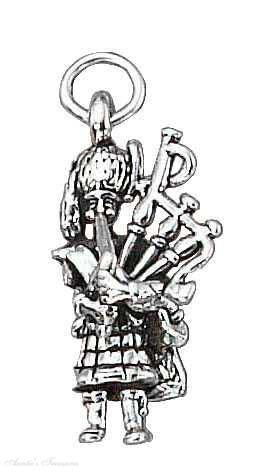 Sterling Silver 3D Scottish Bagpipe Player Charm