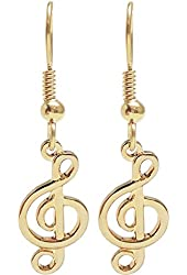 "14K Gold Plated Tiny G Clef Earrings 1 1/4"" Including Wire, Usa, in Gold Tone"