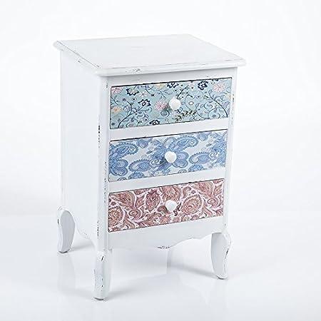Cajonera blanca y multicolor 3cajones 40x 35h60