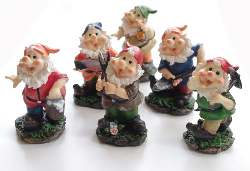 3x Mini Garden Gnomes - Hand painted 10cm figures