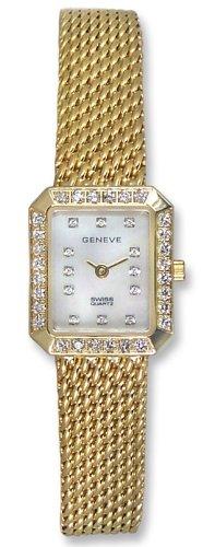 Geneve 14kt Solid Gold Diamond Womens Watch W1300A
