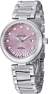 Omega De Ville Ladymatic Stainless Steel Pink Mother of Pearl Diamond Automatic Watch 425.30.34.20.57.001