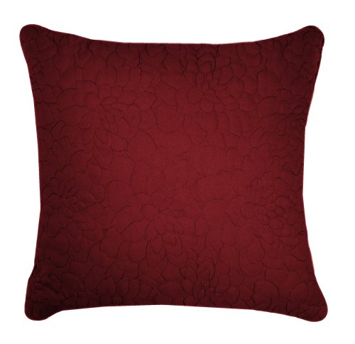 VCNY Daphne Embroidered 20-Inch by 20-Inch Feather Down Fill Pillow, Burgundy