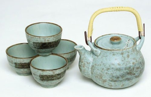 Miya Spring Blossom 24-Ounce Japanese Teapot Teacup Gift Set, Blue/White