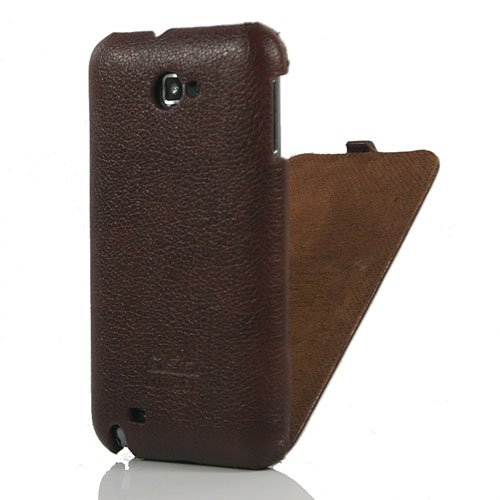 Brown / Genuine Leather Flip Case / Cover / Skin / Shell For Samsung Galaxy Note / GT N7000 / i9220 +Free Screen Protector (7238 21)