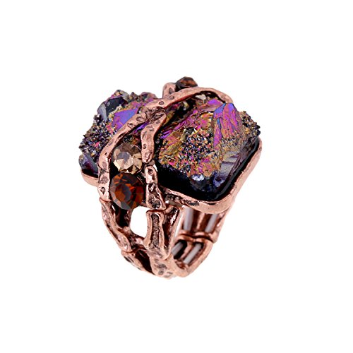 Cubic Gem Resin Stone with Crystal Elastic Stacking Rings Antique Gold and Silver Tone 3 Colors (Coffee) (Silver Rings With Crystal Stone compare prices)