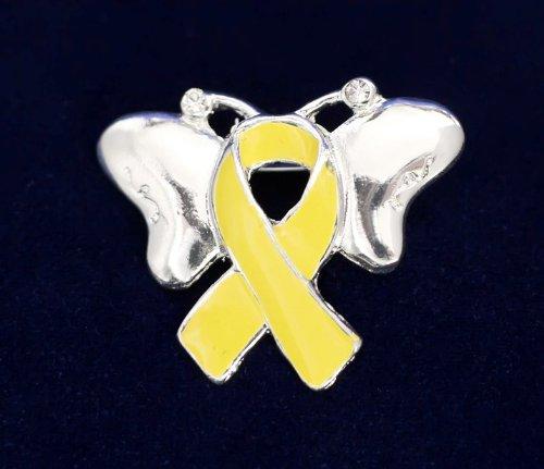 Yellow Ribbon Butterfly Pin (27 Pins)