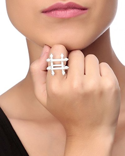 Buymyjewellery Silver Hash Tag Ring