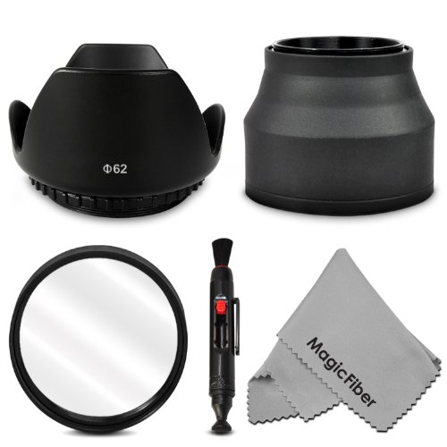 62Mm Accessory Kit For Pentax 18-135Mm, Sony 18-135Mm, Nikon 70-300Mm, Sigma 18-250Mm, Tamron 18-200Mm, 70-300Mm Dslr Zoom Lenses - Includes: Tulip Lens Hood + Collapsible Rubber Lens Hood + Uv Lens Filter + Lens Cleaning Pen + Magicfiber Microfiber Lens front-33416