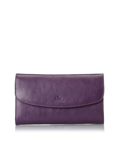 Rowallan of Scotland Women's Christal Full-Grain Leather Jewelry Clutch with 5 Zippered Compartments, Royal Purple