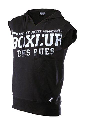Boxeur Des Rues Fight Activewear Felpa Maniche Corte con Cappuccio e Stampa, Nero, M