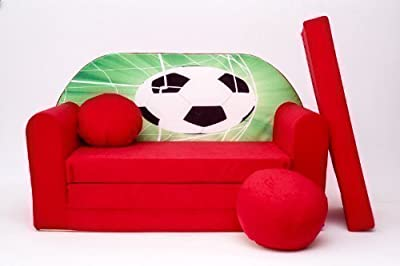 Kids Sofa Bed Futon Childs Furniture+free Pouffe/footstool & Pillow (d3)