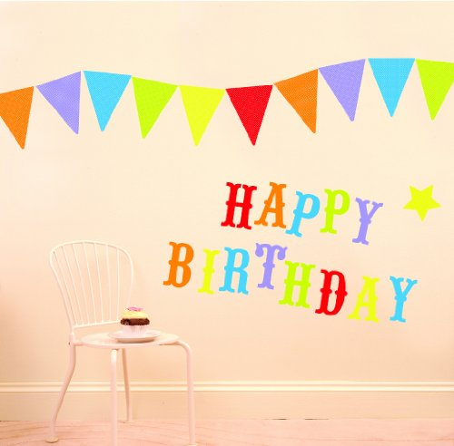 Funtosee Wall Decals and Pennants, Happy Birthday Party