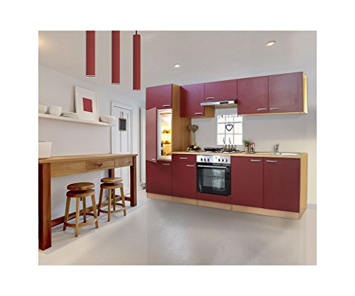 Cocina-respekta-Kchenleerzeile-built-in-isla-de-cocina-270-haya-LBKB270BR-rojo