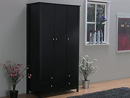 3 Part JUSTIN Revolving Door Cabinet Wardrobe Cupboard Black