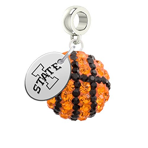Iowa State Cyclones Basketball Drop Charm Fits All European Style Bracelets
