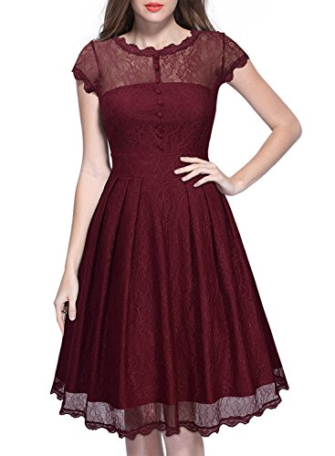 Miusol® Women's Retro Floral Lace Cap Sleeve Vintage Swing Bridesmaid Dress (X-Large, Wine Red)