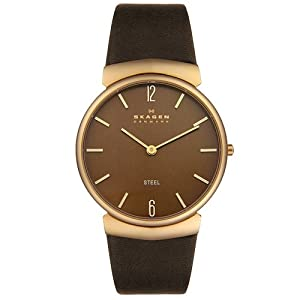 Skagen Men's 695XLRLD Steel Collection Brown Leather Brown Dial Watch